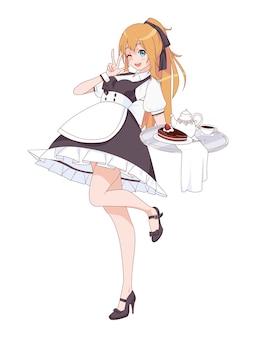 Anime manga mädchen als dienstmädchen verkleidet