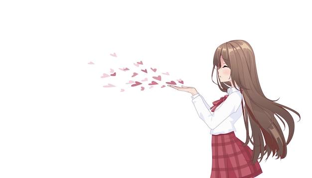 Anime manga mädchen bläst einen kuss isoliert auf weiß