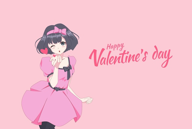 Anime manga mädchen bläst einen kuss. valentinstagskarte