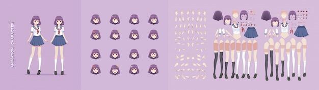 Anime manga mädchen charakter animation motion design