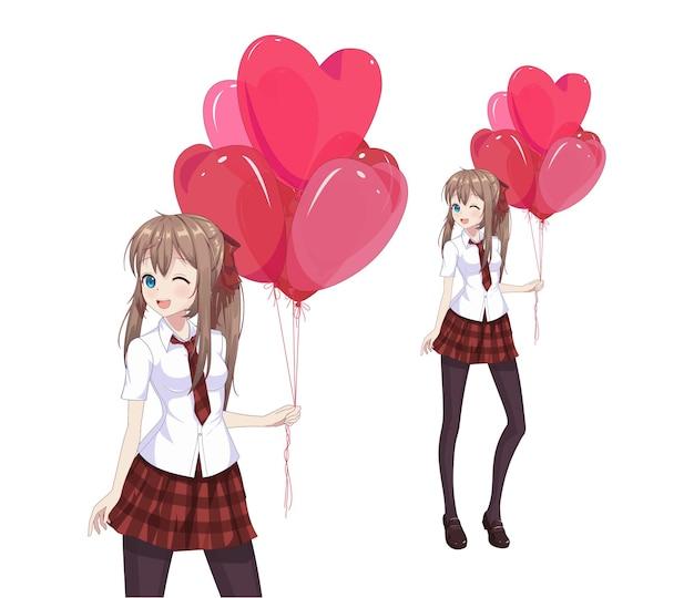 Anime manga mädchen halten herzförmige luftballons