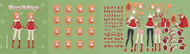 Anime manga mädchen weihnachten charakter animation kit