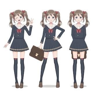 Anime mangschoolgirl in rock, strümpfen und schultasche mit schwänzen auf der seite. rote schleifen. hand in der taille. sie lächelt und zwinkert. zeichentrickfigur im japanischen stil