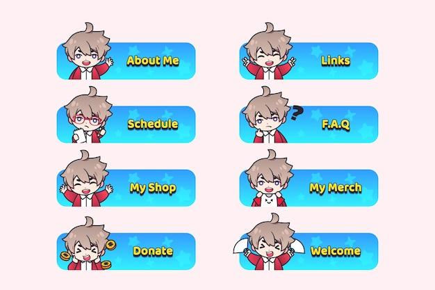 Anime-twitch-panels mit charakteren