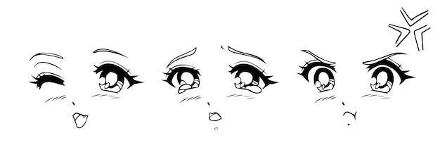 Anime- und manga-gesichter eingestellt. verschiedene ausdrücke. handgezeichnete vektorillustration.