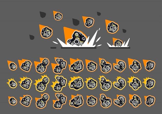 Animierte asteroiden mit feuer zum erstellen von videospielen