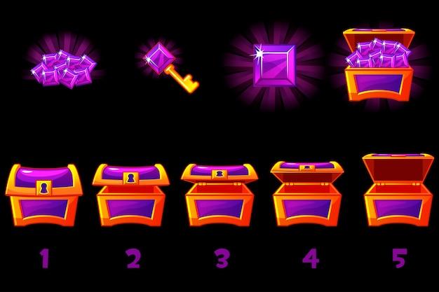 Animierte schatzkiste mit lila edelstein. schritt für schritt, voll und leer, offene und geschlossene box. symbole auf separaten ebenen.