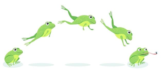 Animierter prozess der frösche springt sequenz. karikaturkröte, die nach beute springt und insektenillustration fängt