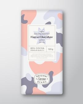 Anis-schokoladen-etikett abstrakte formen vektor-verpackungs-design-layout mit realistischen schatten moderne t ...