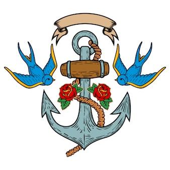Anker mit schwalben und rosen. tätowierung. illustration