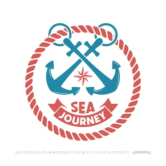 Ankerlogo, nautisches emblem.