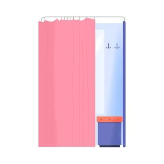 Ankleidezimmer mit rosa vorhang in der kleidergeschäftswohnung