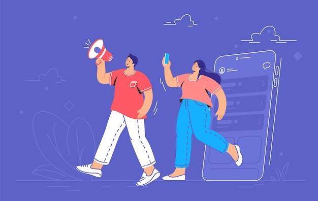 Ankündigung der social-media-community über lautsprecher. flache linie vektorgrafik von niedlichen mann und frau, die aus einem smartphone gehen und mit megaphon schreien, um neue benutzer und abonnenten einzuladen