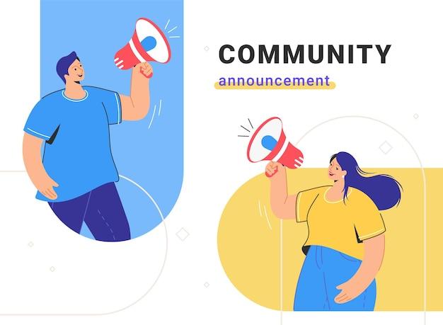 Ankündigung der social-media-community und werbung für lautsprecher im internet-marketing. flache linienvektorillustration des netten paares, das mit rotem megaphon steht und schreit. kundenbenachrichtigung und -warnung