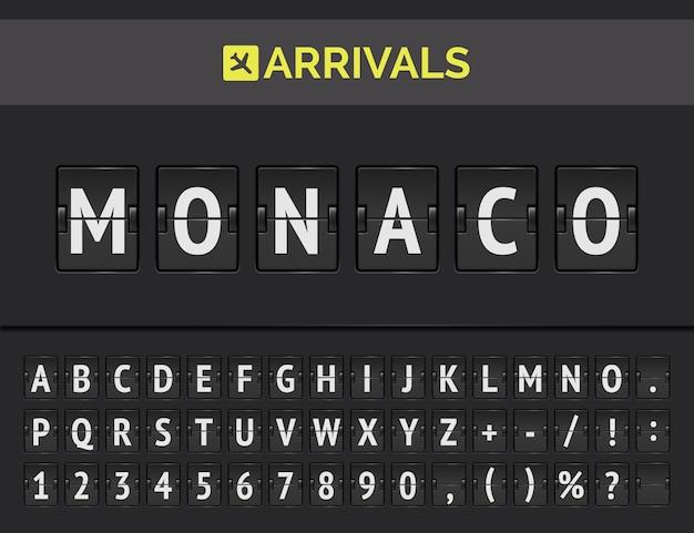 Ankunft mechanische anzeigetafel. flughafen-flip-board-konzept zur präsentation des fluges nach monaco in europa.
