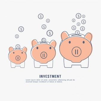 Anlagehintergrund mit drei schweinchen banken