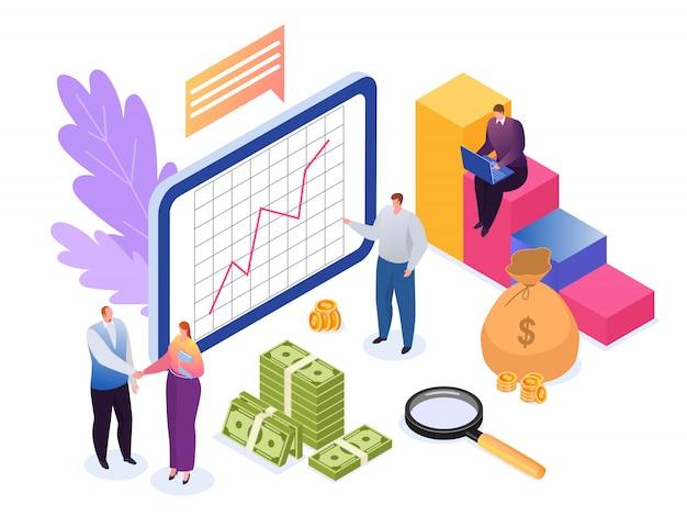 Anlagekonzept der finanzillustration. entwicklung, datenforschung finanzwachstum, grafikstatistik und investoren winzige leute. investitionsanalyse, geschäftsdokument, strategisch.
