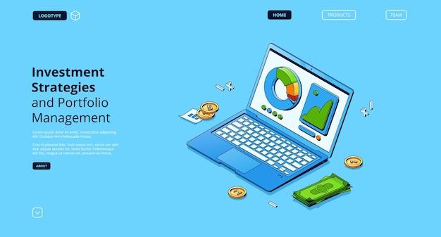 Anlageseite für anlagestrategien und portfoliomanagement