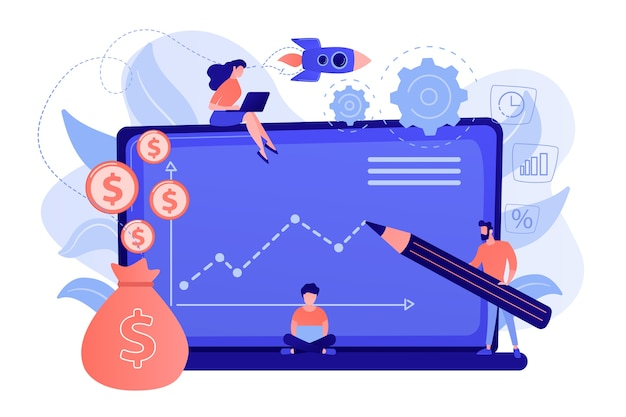 Anlageverwalter mit laptops bieten ein besseres rendite- und risikomanagement. investmentfonds, anlagemöglichkeiten, hebelkonzept für hedgefonds