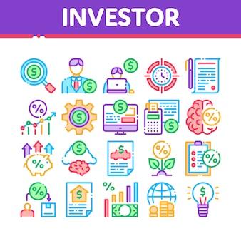 Anleger finanzielle sammlung icons set