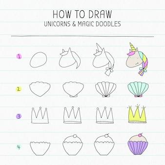 Anleitung zum zeichnen von einhorn und magischen kritzeleien