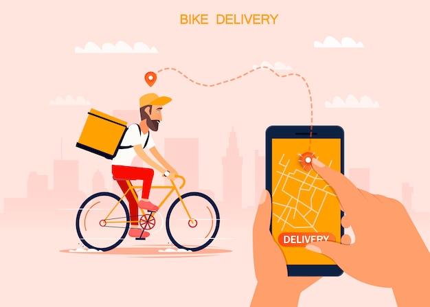 Anlieferung, der typ auf dem fahrrad trägt das paket. städtische landschaft. kurier fahren fahrrad fast-food-essen. flaches design vektor-illustration.