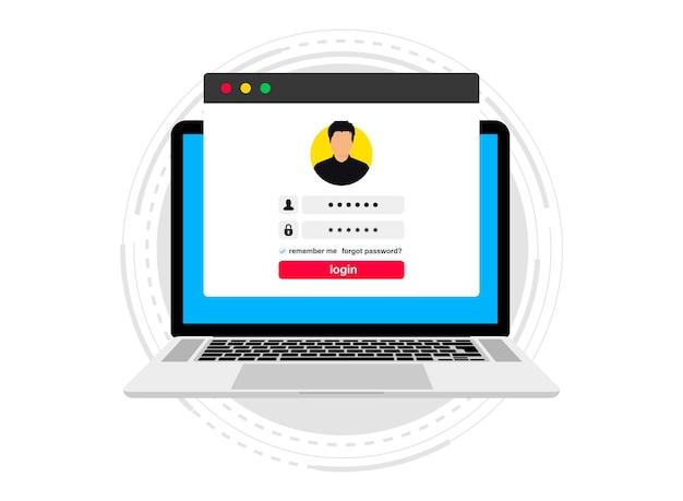 Anmeldeformular auf einem computer. onlineanmeldung. melden sie sich beim konto an. benutzerberechtigung in einem fenster auf dem laptop. konzept der anmeldeauthentifizierungsseite. laptop mit anmelde- und passwortformularseite auf dem bildschirm