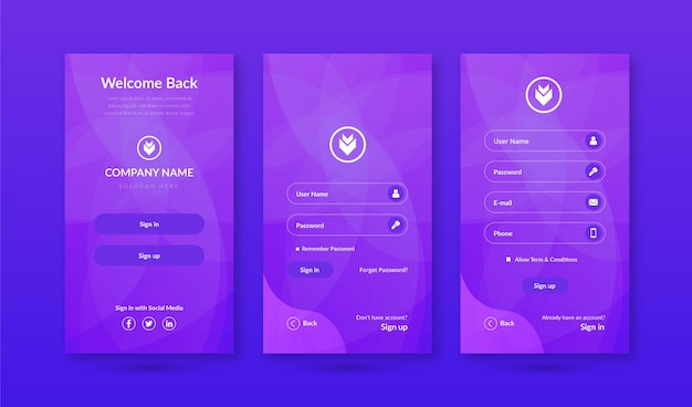 Anmelden amp anmeldebildschirme ui-kit für mobile app-vorlage