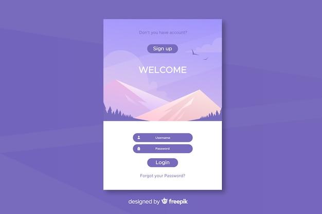 Anmelden landing page design