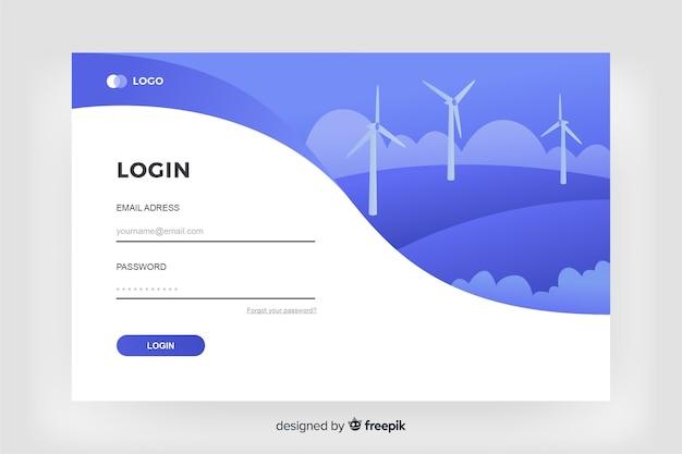 Anmelden landing page digital design