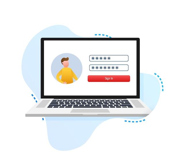 Anmeldeseite auf dem laptop-bildschirm notizbuch und online-anmeldeformular-anmeldeseite