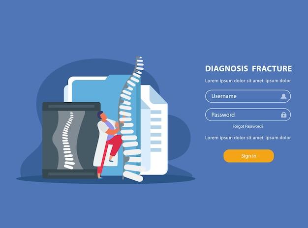 Anmeldewebsite für orthopädie mit rückgratdiagnose