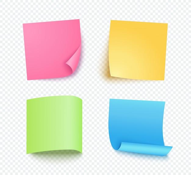 Anmerkungsblatt papier eingestellt mit unterschiedlichem schatten. farbiger leerer beitrag für nachricht, liste zu tun. set rosafarbene, gelbe, blaue und grüne klebrige anmerkungen getrennt auf transparentem.