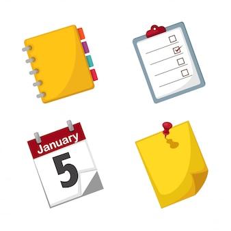 Anmerkungspapier und gesetzter vektor des kalenders