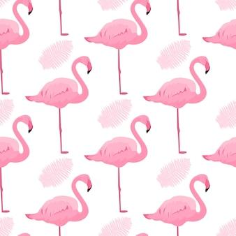 Anmutige flamingos und farnblätter. nahtloses muster des tropischen sommers.