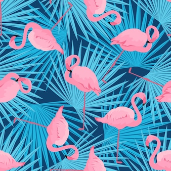Anmutige flamingos und palmblätter. nahtloses muster des tropischen sommers.