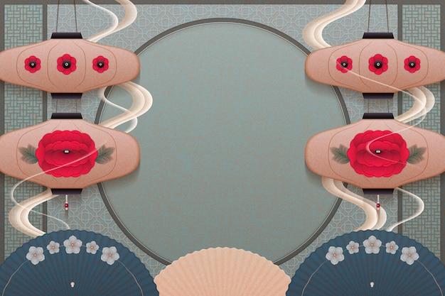 Anmutiger hängender blumenlaternen- und ölpapierschirmhintergrund