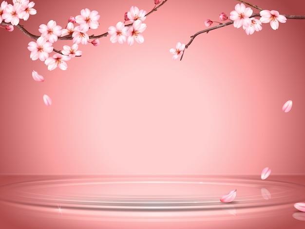 Anmutiger kirschblütenhintergrund, sakurazweige und fallende blütenblätter auf der wasseroberfläche in illustration, romantische tapete für