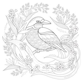 Anmutiger vogel malvorlagen im exquisiten stil