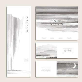 Anmutiges banner-vorlagen-design im tinten- und waschstil