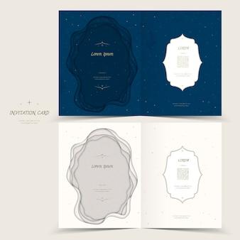 Anmutiges einladungskartenschablonendesign in blau und weiß