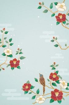 Anmutiges mondjahrplakat mit vogel- und kameliendekorationen auf blauem hintergrund