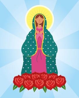 Annahme der schönen mary jungfrau mit rosen
