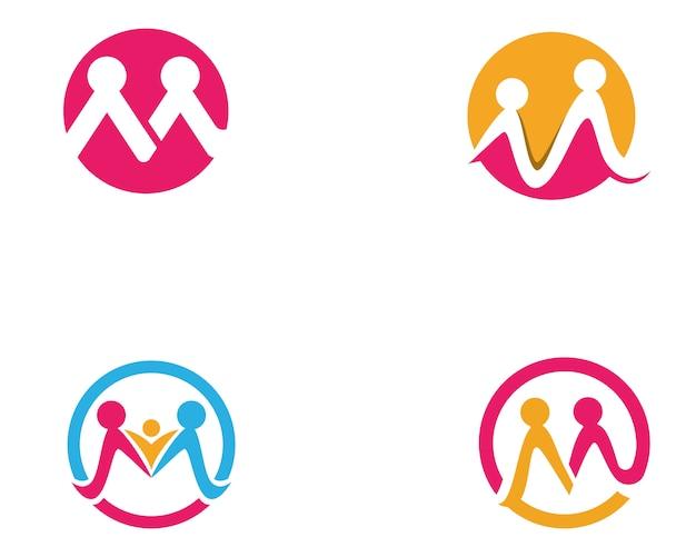 Annahme und gemeinschaftssorgfalt logo-schablonenvektor