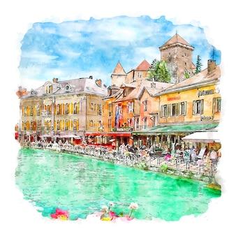 Annecy frankreich aquarellskizze handgezeichnete illustration