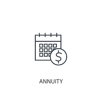 Annuität konzept symbol leitung. einfache elementabbildung. annuitätenkonzept umrisssymbol design. kann für web- und mobile ui/ux verwendet werden