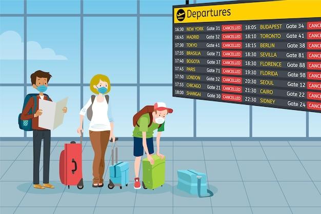 Annullierter flug mit flughafen