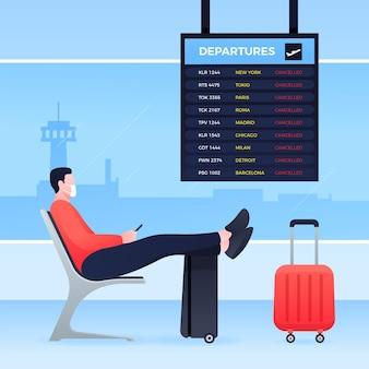 Annullierter flug mit passagier am flughafen