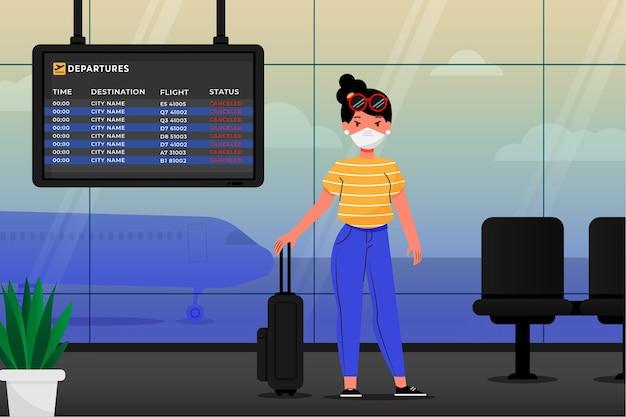 Annullierter flug mit passagier und gepäck
