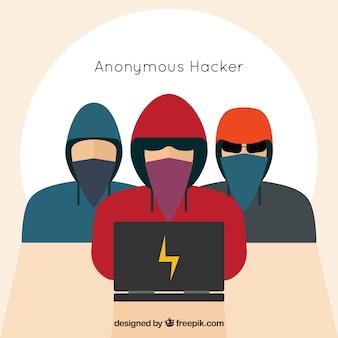 Anonyme hacker mit flachem design
